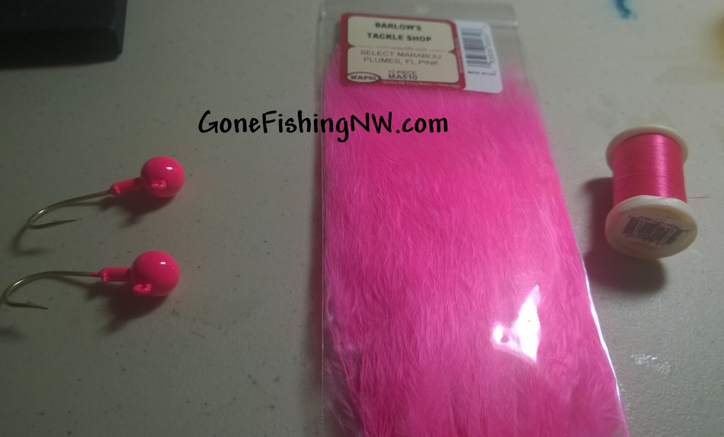 Pink Salmon Jig Tying Materials
